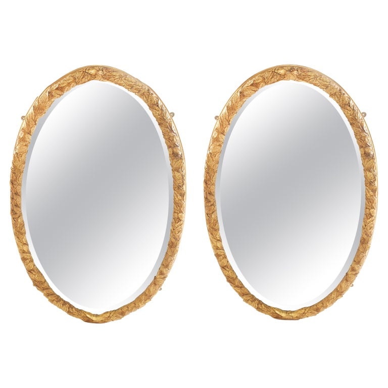 Pair Gilt Wood Framed Beveled Wall Mirror For Sale