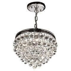 Hollywood Regency Crystal Graduated Teardrop Chandelier with Chrome Fittings