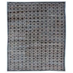 Blue, Charcoal, Gray and Brown Afghan Modern Geometric Design Rug