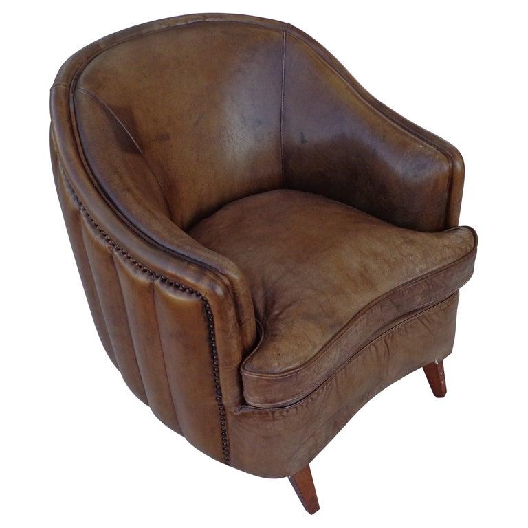 Vintage Art Deco Style Barrel Club Chair For Sale