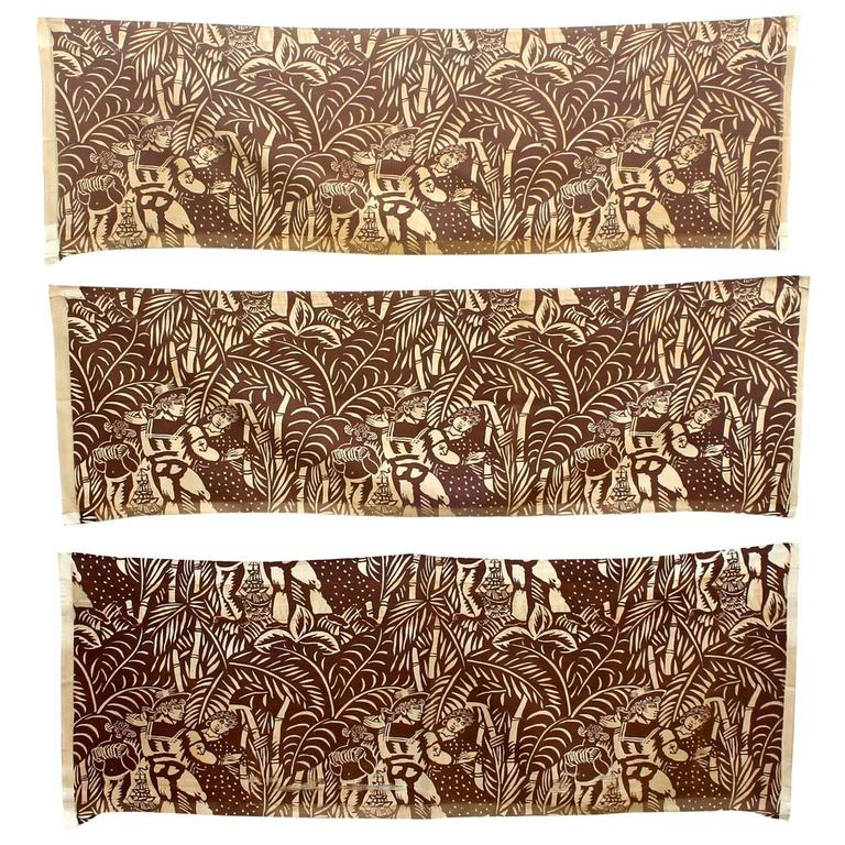 Three Panels by Raoul Dufy, 'La Danse' Printed Fabric for Paul Pioret For Sale