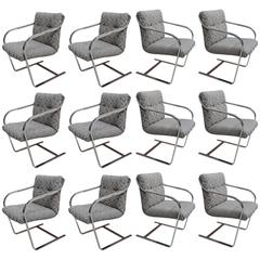 Set of Twelve Chrome Dining Chairs By Brueton