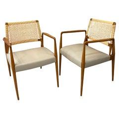 Pair of Italian Mid-Century Modern Rattan Leather Armchairs