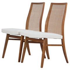 Set of Two 50s Beech Wood Chairs with Woven Back