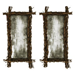 Modern Rectangular Pair of Aged Wood Belgian Mirrors, 1970