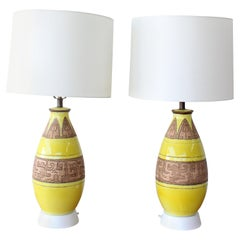 Pair of 1960s Ceramic Porcelain Lamps with Egyptian Motifs