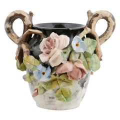 French 19th Century Barbotine Vase with High Relief Pastel Flowers and Handles