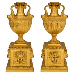 Pair of French 18th Century Louis XVI Period Ormolu Fireplace Chenets/Andirons