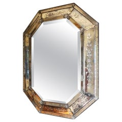19th Century Etched and Beveled Octagonal Venetian Mirror
