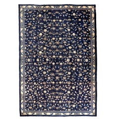 Fine Antique Blue Peking Chinese Rug with Scrolling Lotus Flowers