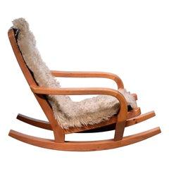 Scandinavian Modern Pine Rocking Chair
