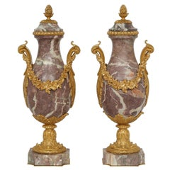 Pair of French Louis XV Style Mid-19th Century Ormolu and Marble Cassolettes