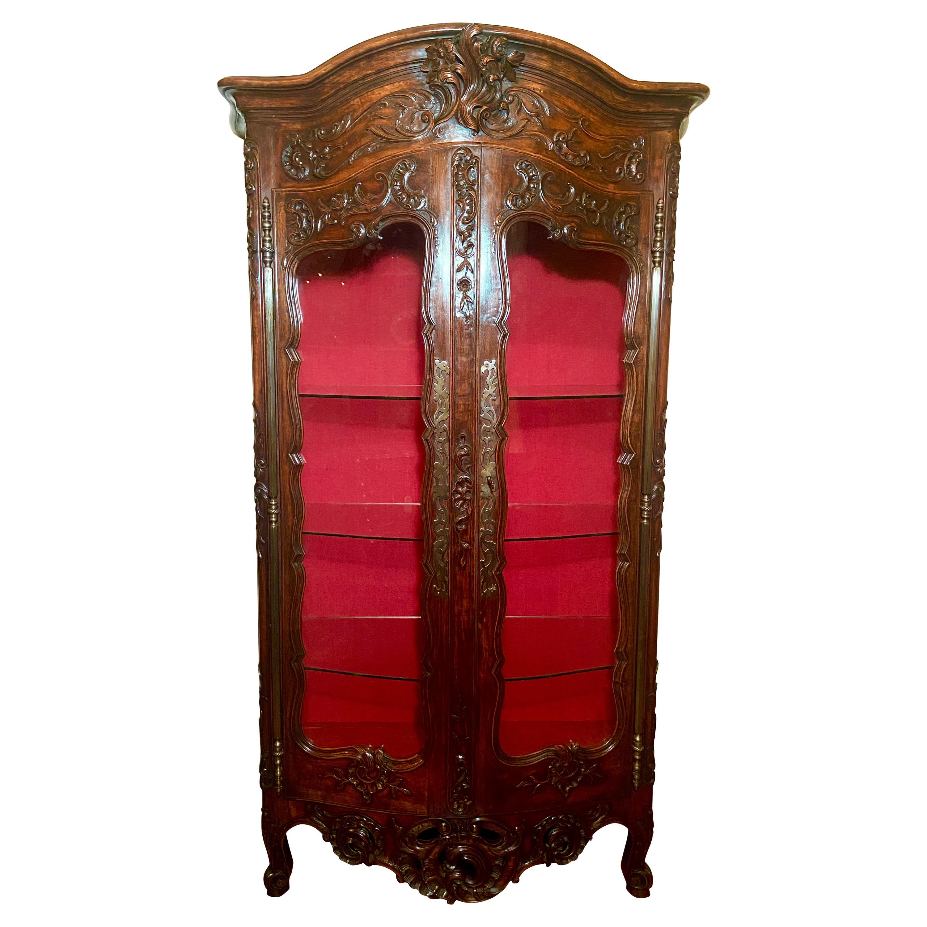 Antique French Provincial Carved Walnut Cabinet, Circa 1880