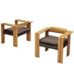 Afra & Tobia Scarpa 'Artona' Lounge Chairs in Walnut