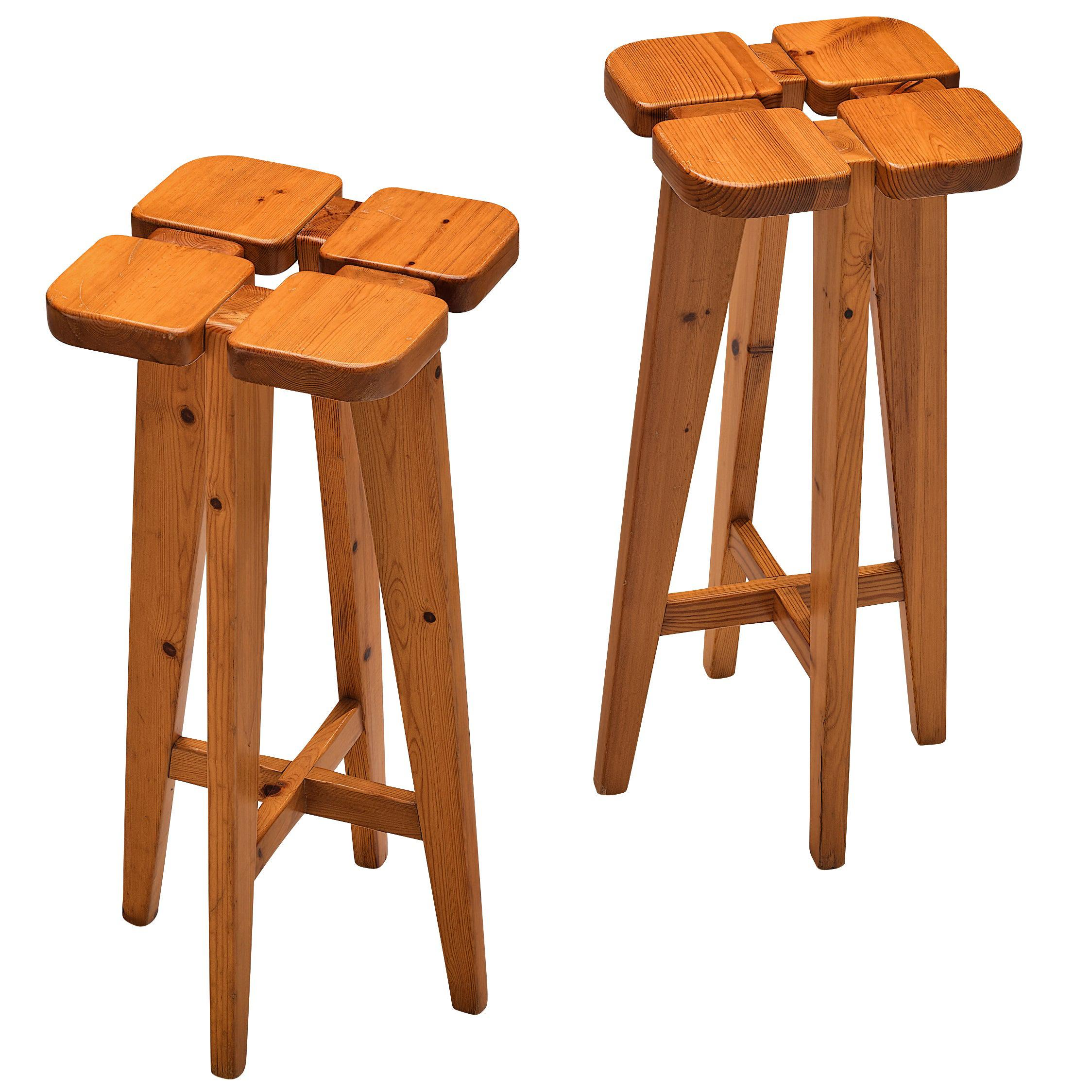 Lisa Johansson-Pape Pair of Bar Stools in Solid Pine