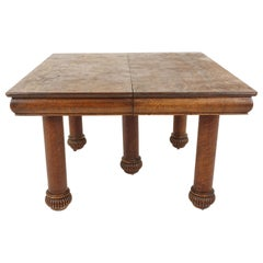 Antique Tiger Oak Table, Square Dining Table, 5 Leaves, American 1910, B2480