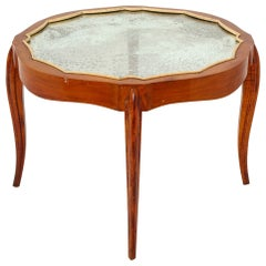 French Art Deco Mahogany & Antique Mirror Occasional Table, c. 1930