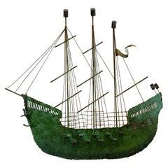 Original Vintage Curtis Jere Ship Boat Wall Sculpture