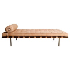 Barcelona Daybed in Nude Suede by Ludwig Mies van der Rohe for Knoll, Signed