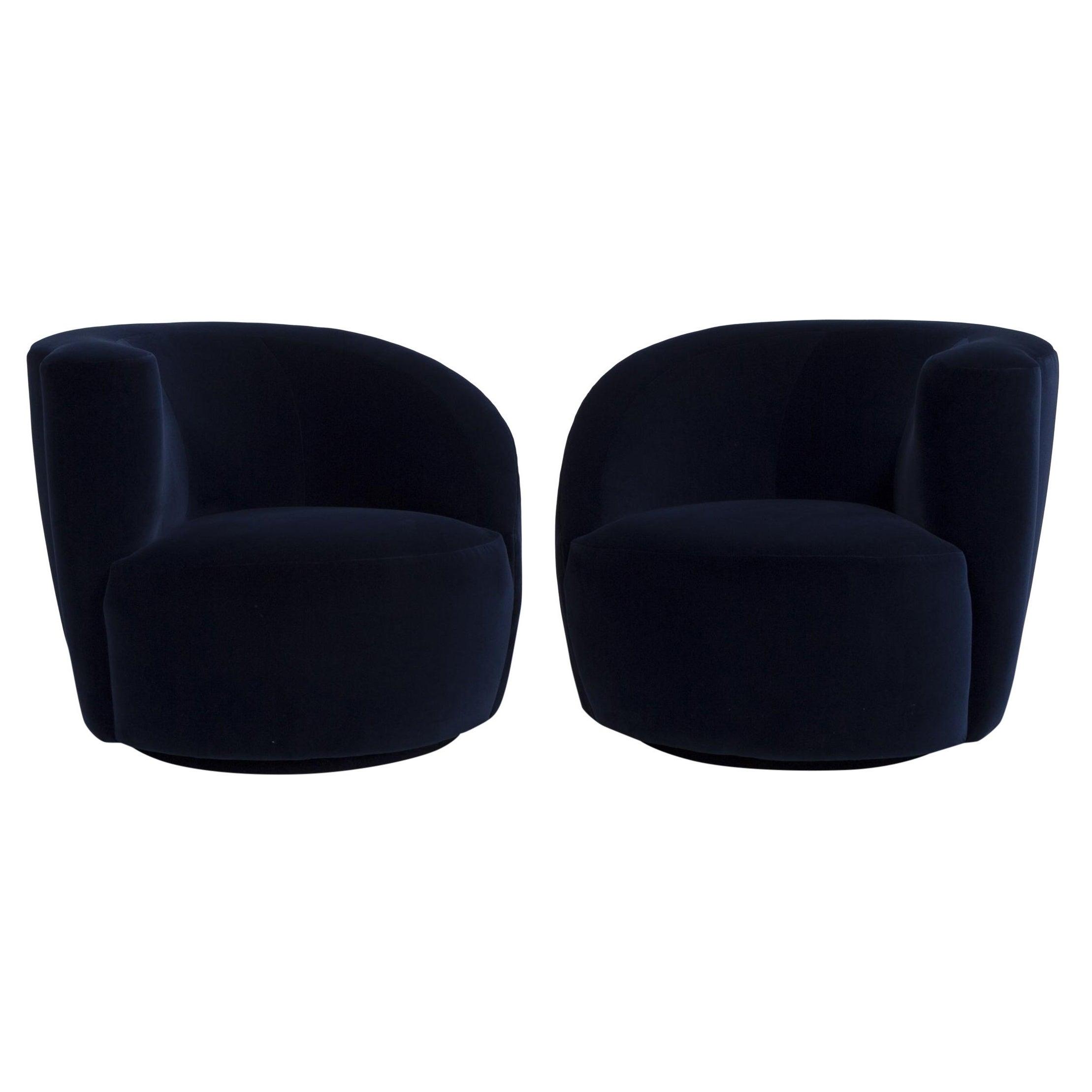 "Pair of Navy Blue Velvet Swiveling ""Nautilus"" Chairs by Vladimir Kagan"