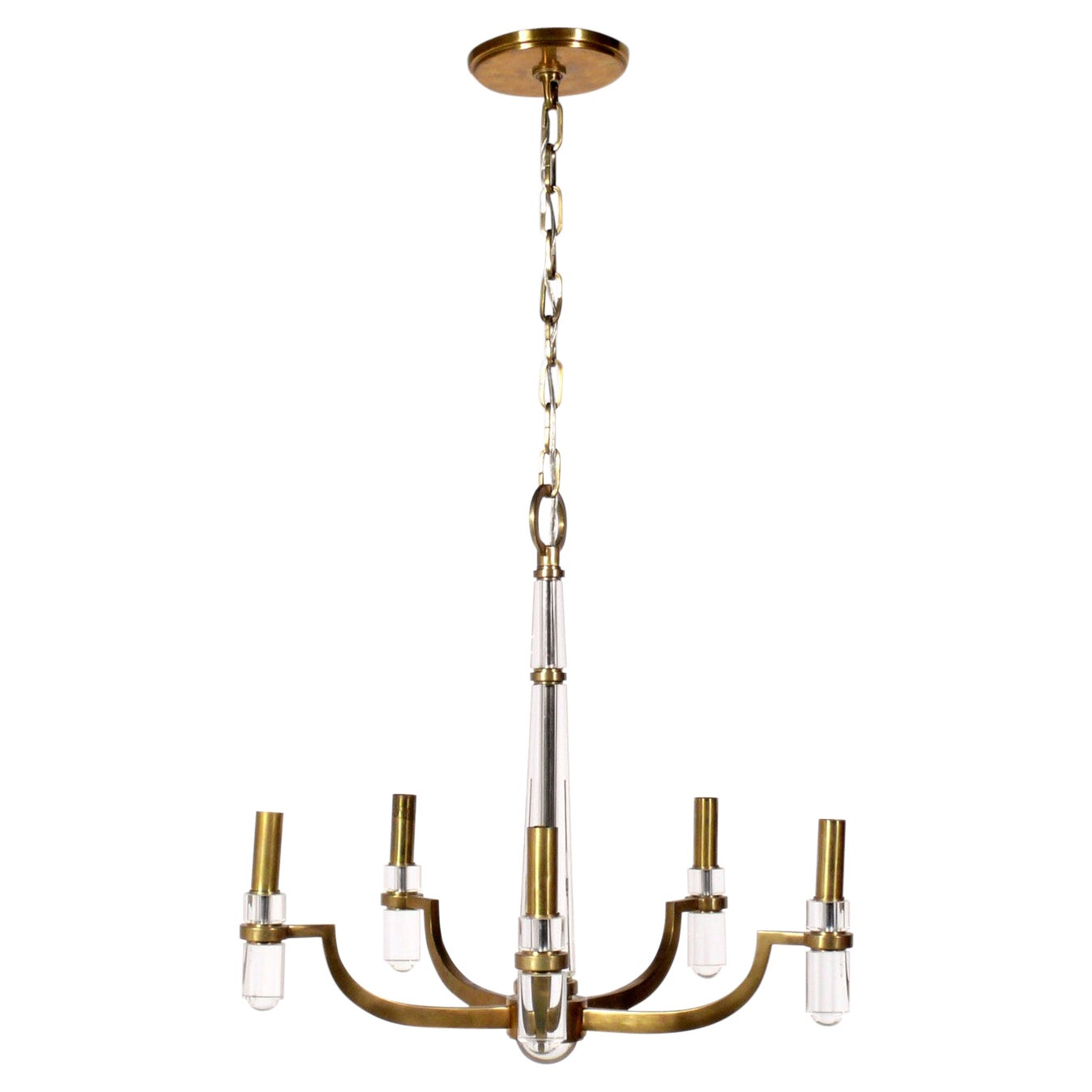 Lucite and Brass Chandelier