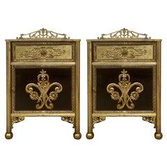 Louis XVI Pair of Bronze Vitrine Nightstands with Mirrored Doors and Drawer