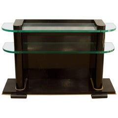 De Coene Frères Art Deco Ebonized and Glass Console