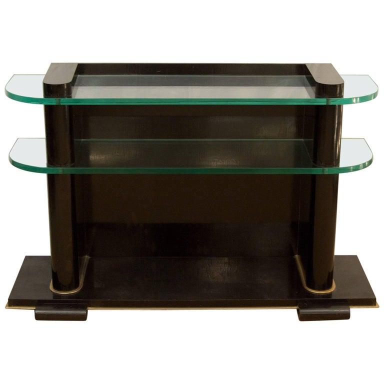 De Coene Frères Art Deco Ebonized and Glass Console