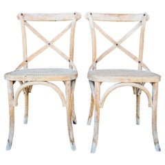 Pair of French Provincial Country Style Distressed Chairs