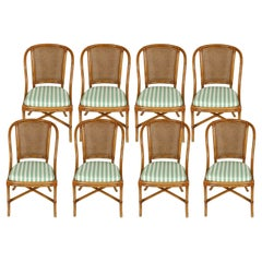 Set of Eight Rattan Dining Chairs