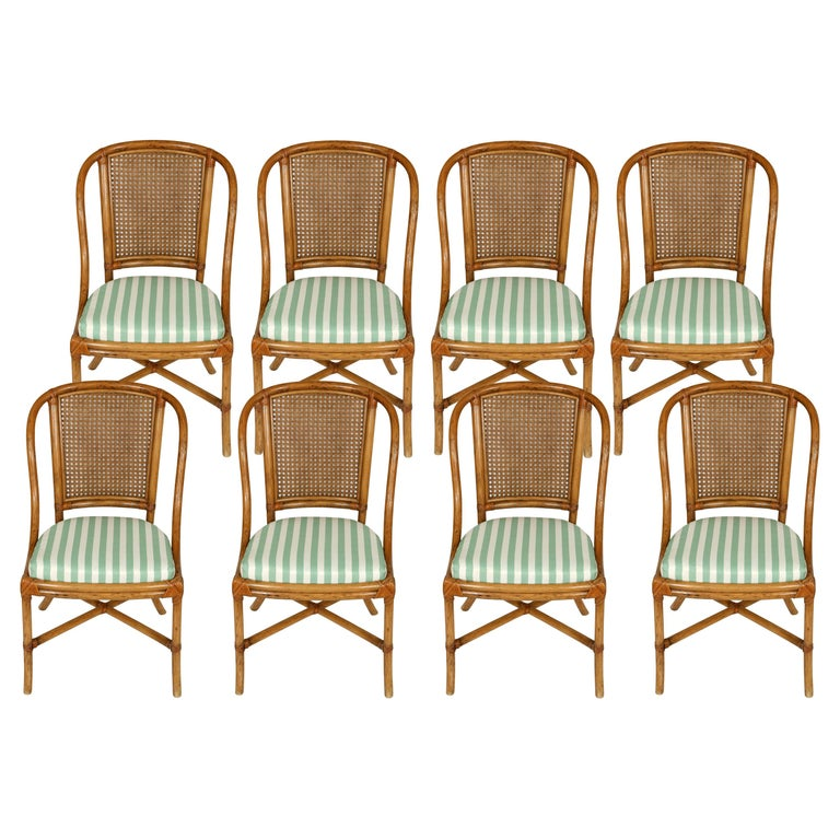 Set of Eight Rattan Dining Chairs For Sale