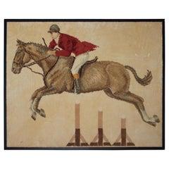 Horse & Rider Hand Hooked Rug Mounted & Framed