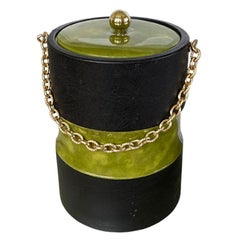 Hollywood Regency Green Bamboo Look Ice Bucket with Lid by Georges Briard