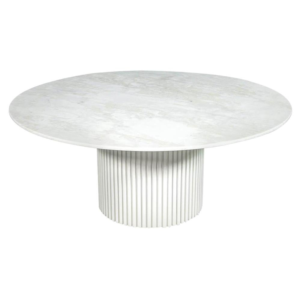 Custom Round White Marble Top Dining Table