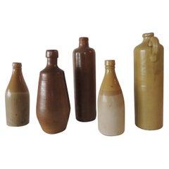 Set of '5' Vintage Mid-Century Modern Pottery Bottles