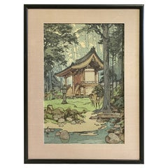 Hiroshi Yoshida Sealed Framed Japanese Color Woodblock Print Temple in the Woods