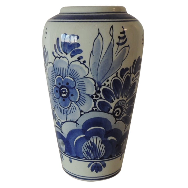 Blue and White Floral Dutch Delft Vase