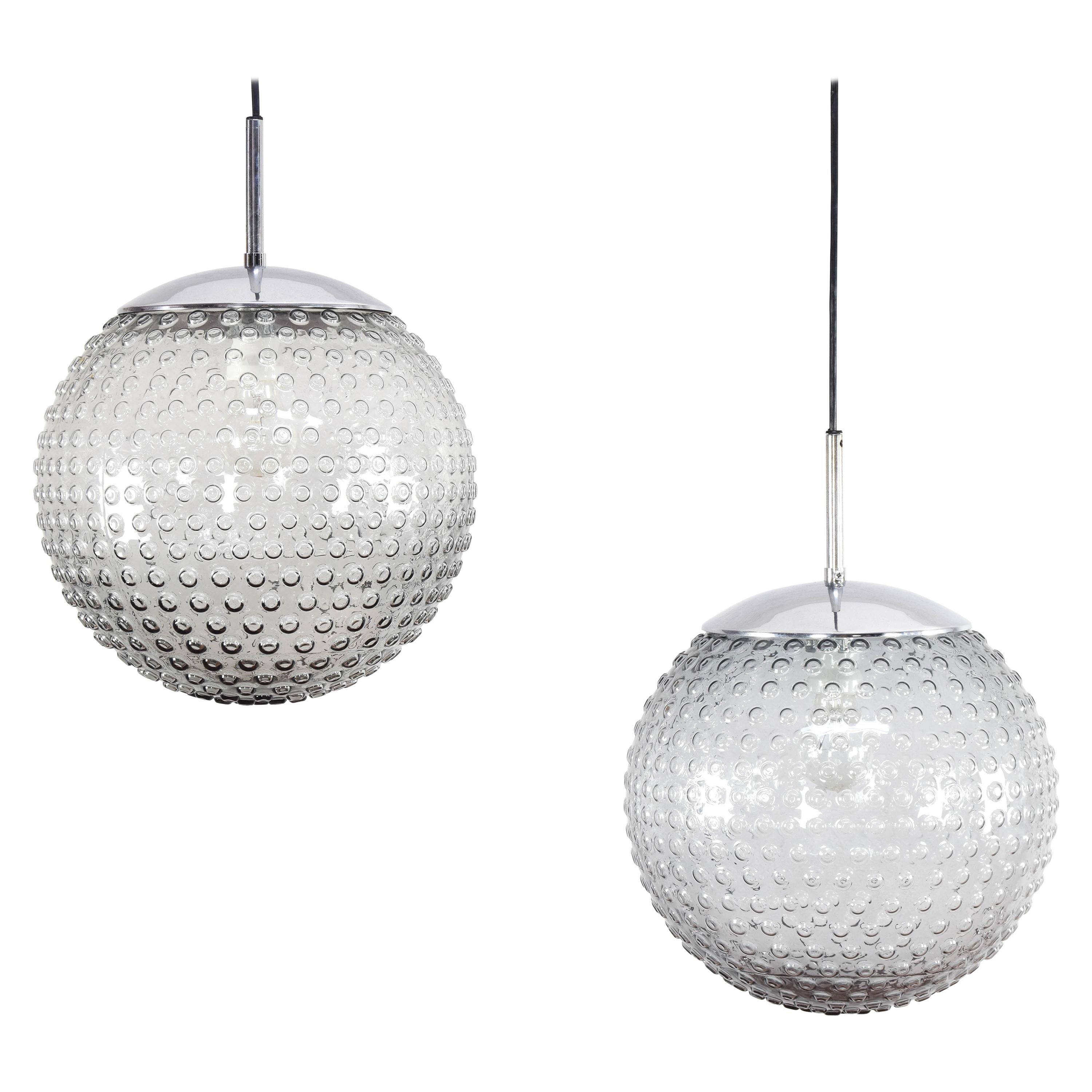 Staff Bubbles Glass Mid-Century Modern Pendant Lamps by Rolf Krüger, Germany 70s