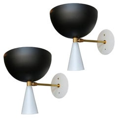 Pair of Custom Brass and Black Metal Mid Century Style Sconces by Adesso Imports