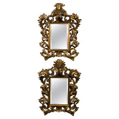 Pair of Roccoco Style Gilt Wood Mirrors