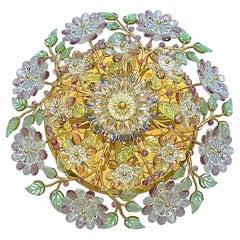 Signed Palwa Flush Mount Chandelier Gilt Brass Flower Bouquet Crystal Glass 1960