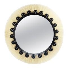 Modern Bohemian Ibiza Round Wall Mirror in Natural Fiber & Black