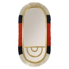 21st Century Modern Bohemian Oval Wall Mirror in Natural Black & Orange Fiber