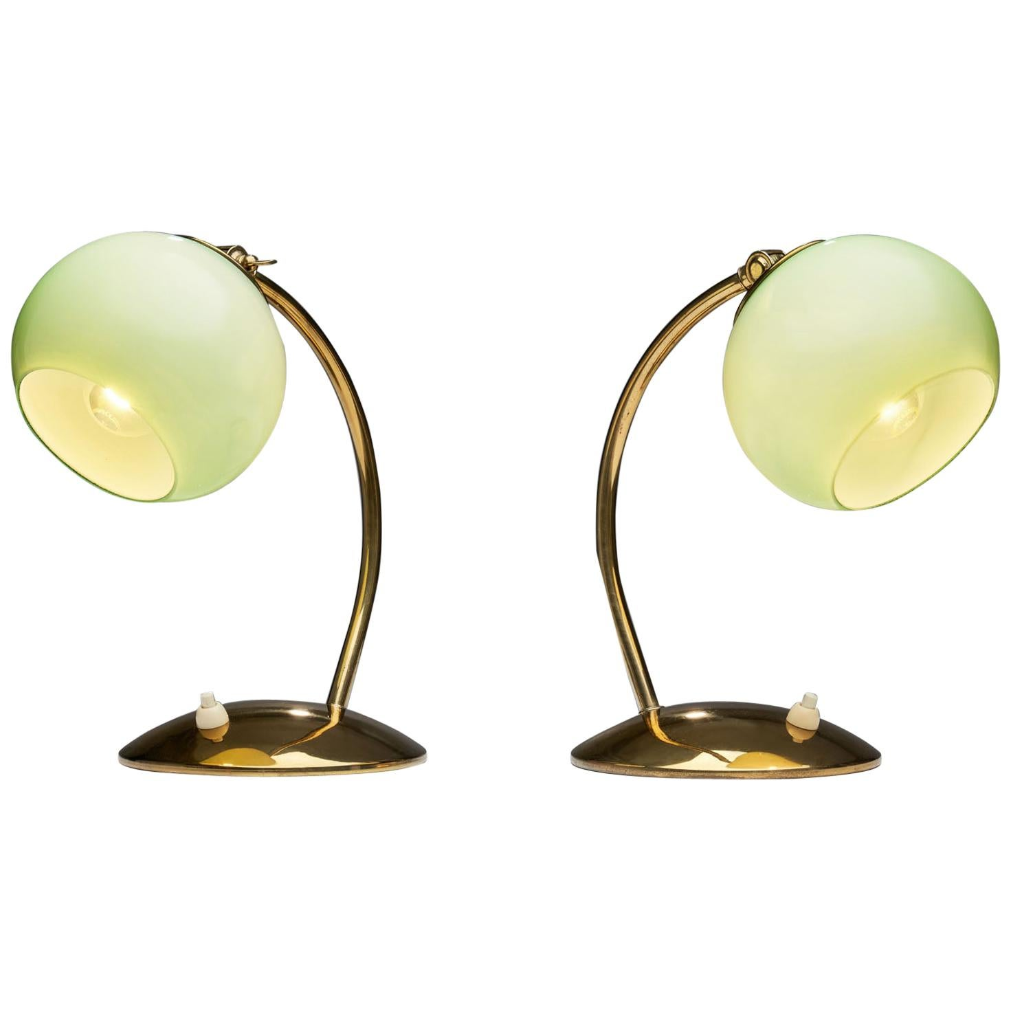 Aneta Tinted Glass and Brass Table Lamps, Sweden, 1950s