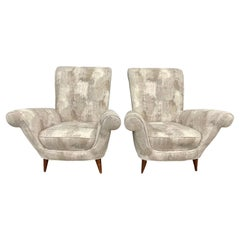 Mid-Century Modern Pair Lounge Chairs, Manner of Paolo Buffa