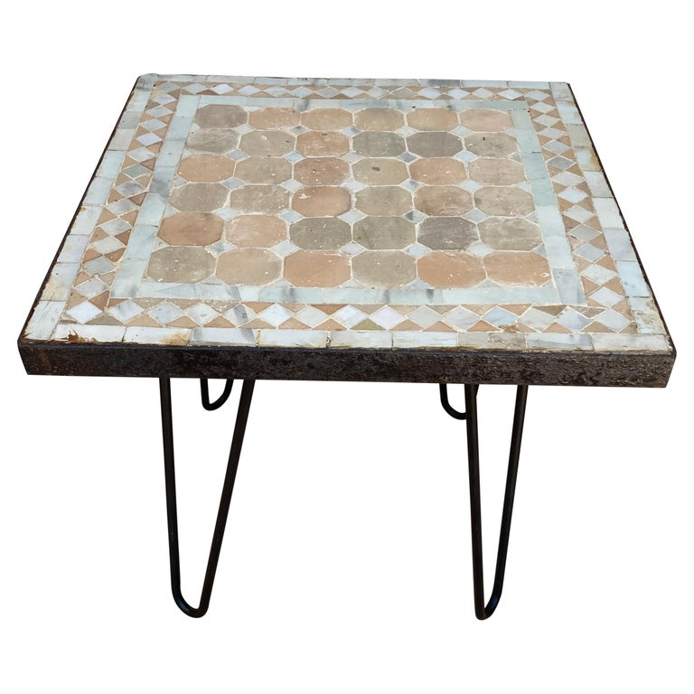Moroccan Mosaic Tile Square Tile Side Table