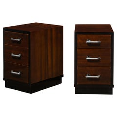 Pair of Art Deco Nightstands in Lacquer & Walnut w/ Streamlined Chrome Pulls