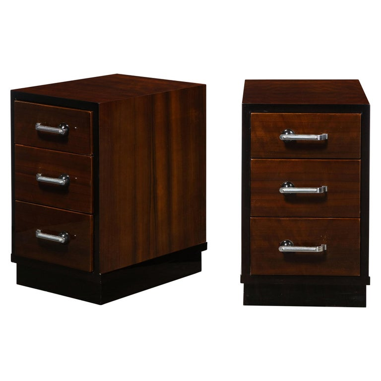 Pair of Art Deco Nightstands in Lacquer & Walnut w/ Streamlined Chrome Pulls For Sale