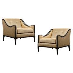 Pair of Mid-Century Modern Ebonized Walnut Club Chairs in Gold Holly Hunt Fabric