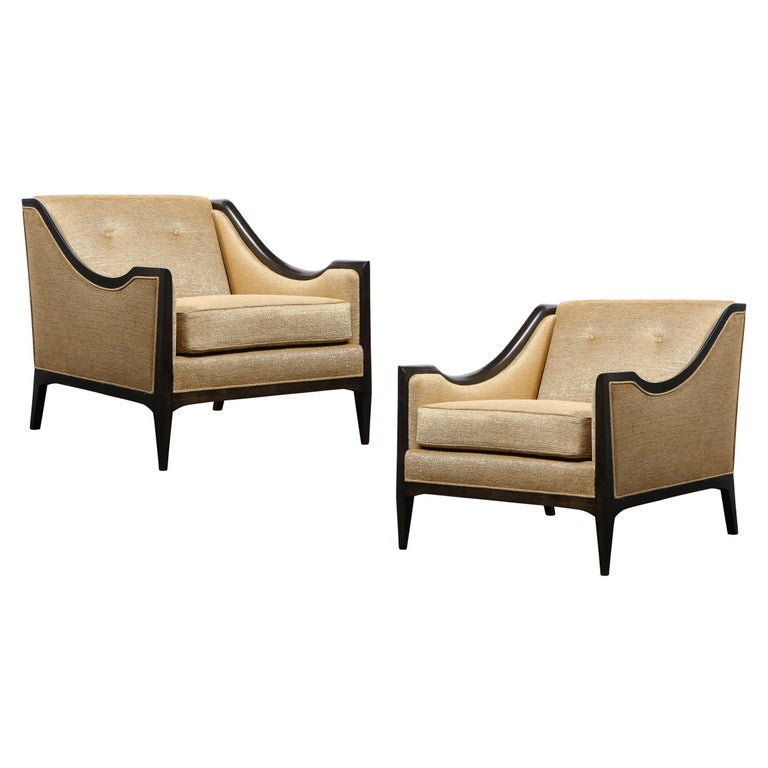 Pair of Mid-Century Modern Ebonized Walnut Club Chairs in Gold Holly Hunt Fabric For Sale